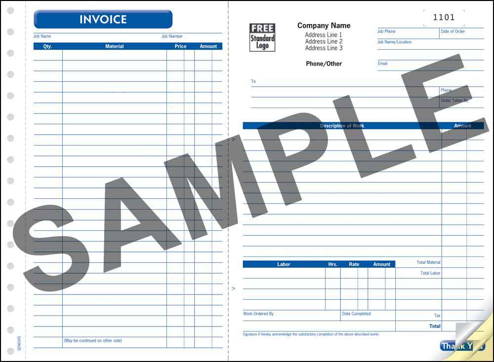 Work Order / Invoice, 2 Copy - PERSONALIZED - Click Image to Close