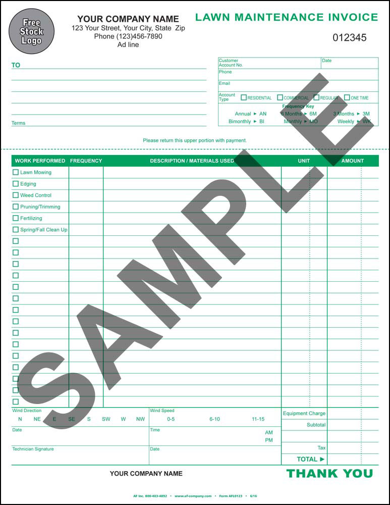Lawn Maintenance Invoice - PERSONALIZED - Click Image to Close