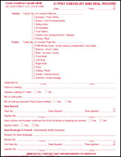 C-TPAT Checklist and Seal Record - PERSONALIZED